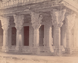 Close view of columns on south side of the Chaumukh Temple, Satrunjaya